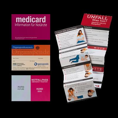 Medicard Organspendeausweis Notfallpass Unfallratgeber – Zubehör Lieferumfang Safetybag –Hülle für Rettungsdatenblatt und Rettungskarten