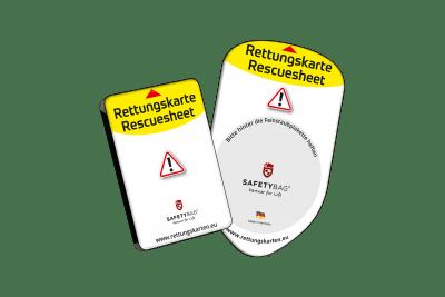 Safetybag – Zwei Modelle – Feinstaubplakette und Europa Rettungskarten-Halterung Rettungsdatenblatt