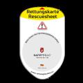 SAFETYBAG® –Die Rettungskarten-Halterung Hülle Tasche für jedes Auto – Shop Produkt Variante F Standard-gelb –Position Frontscheibe hinter der Feinstaubplakette