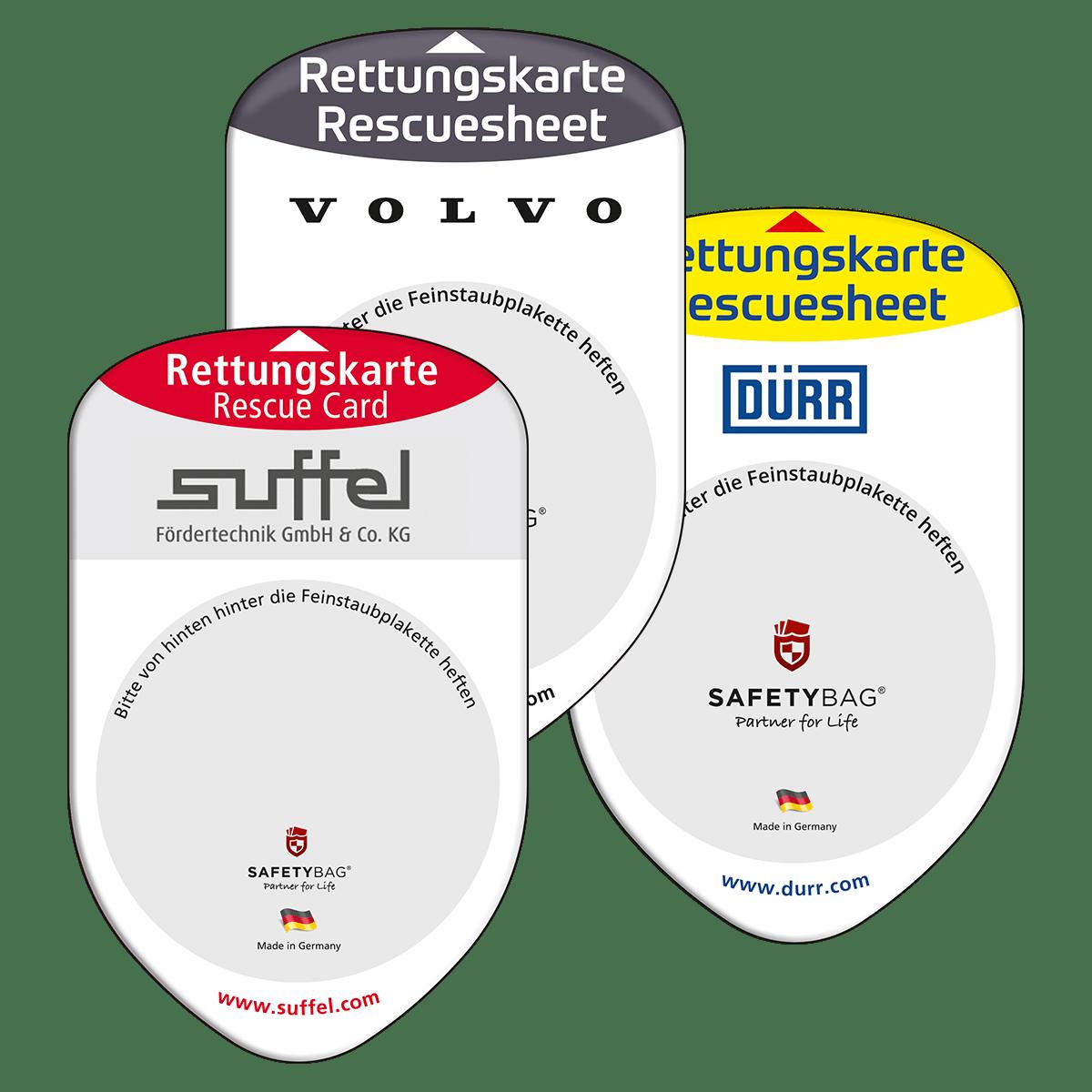Eigenes Design –Safetybag Referenzen –Unternehmen Volvo Suffel Dürr –Rettungskarten Halterung Rettungsdatenblatt –Werbung mit Ihrem Logo