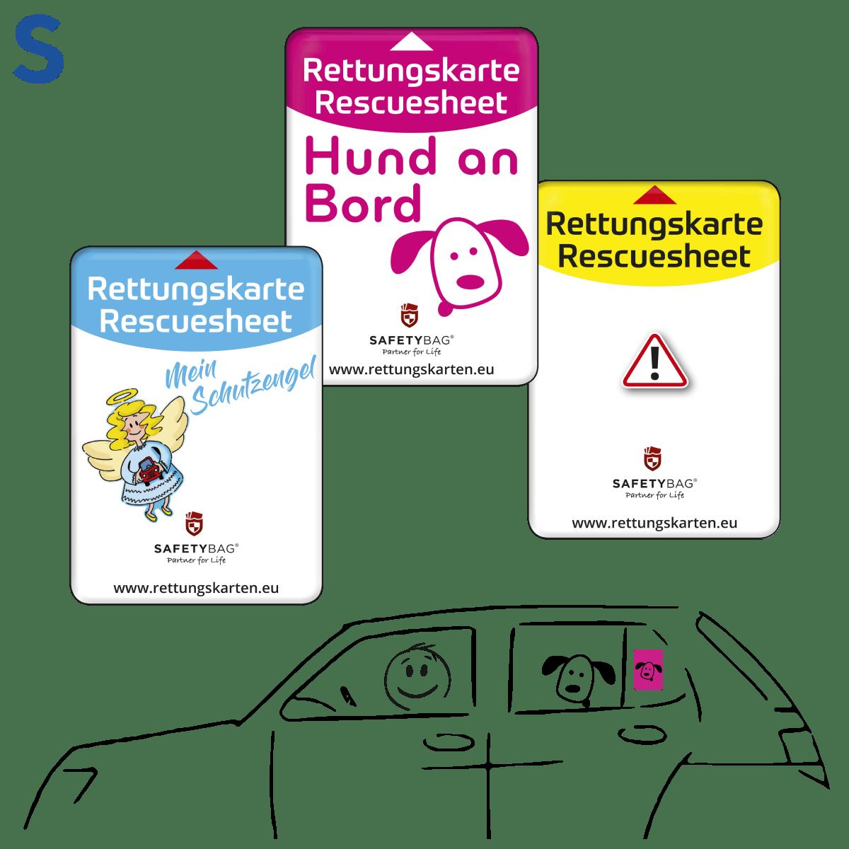 Safetybag Rettungskarten Halterung Rettungsdatenblatt –Varianten S Seitenscheibe – Schutzengel Hund-an-Bord Standard-Gelb –Position an der Seitenscheibe