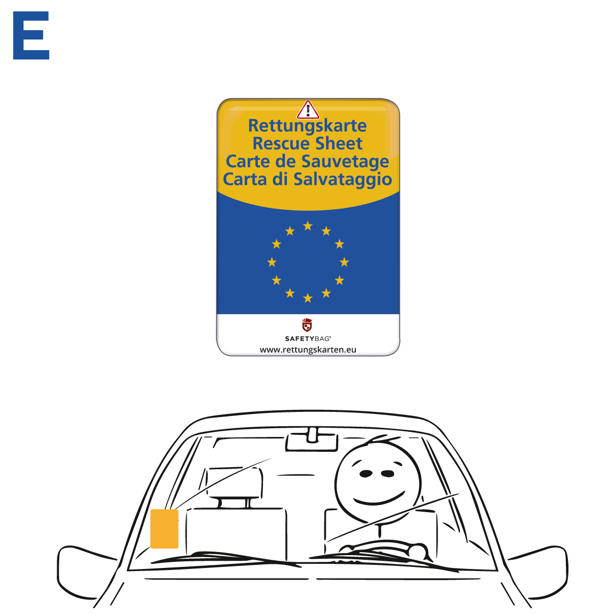 Safetybag Rettungskarten Halterung Rettungsdatenblatt –Variante E Europa – Position an der Frontscheibe Windschutzscheibe
