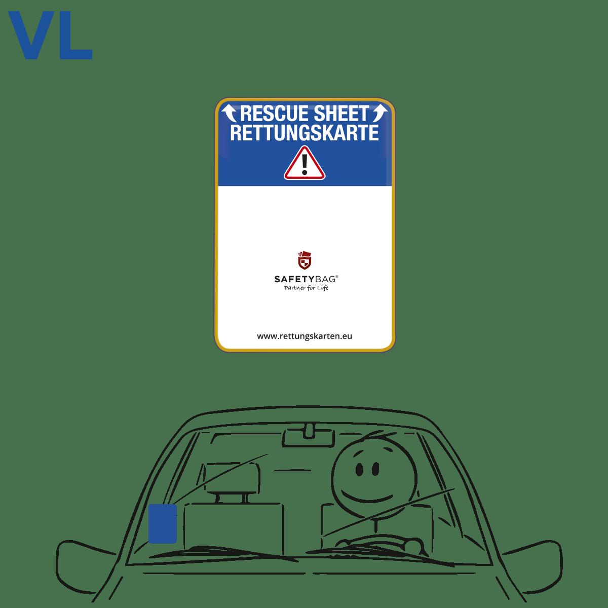 Safetybag Rettungskarten Halterung Rettungsdatenblatt –Variante VL vorne links – Europa –hinter der Vignette –Position an der Frontscheibe Windschutzscheibe