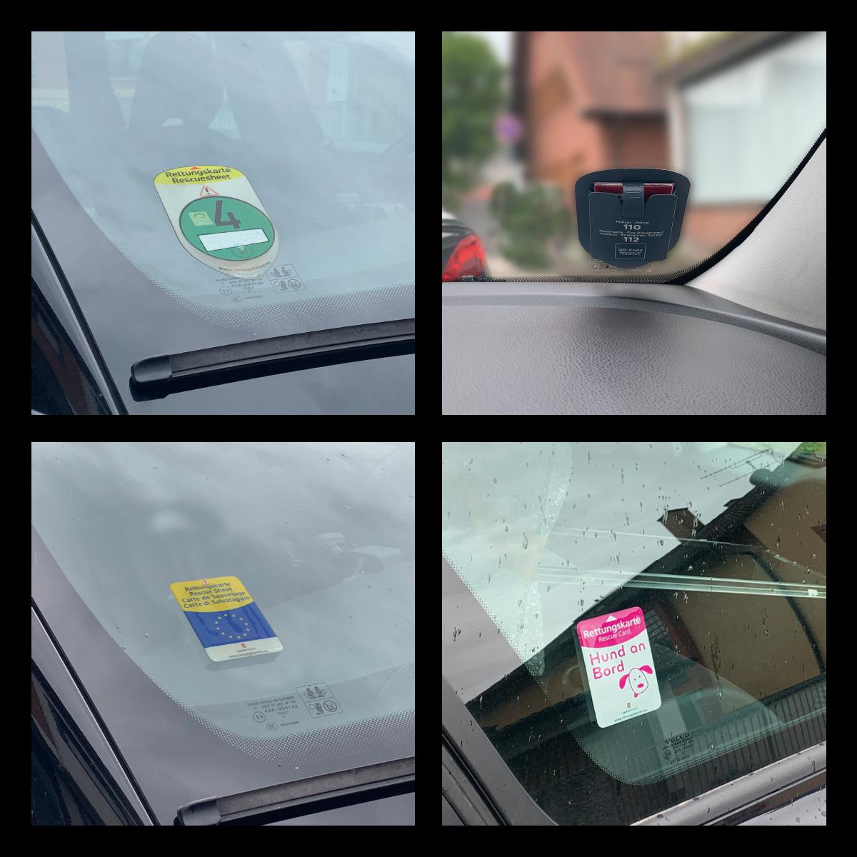 Ansichten Autoscheibe – Varianten Feinstaubplakette Europa Hund-an-Bord –Rettungskarten Halterung Rettungsdatenblatt –Safetybag