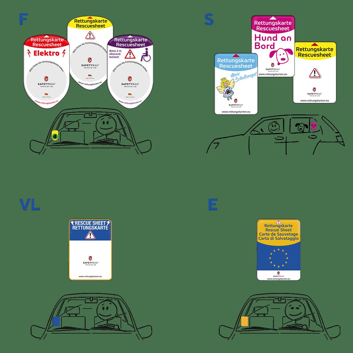 Rettungskarten Halterung Rettungsdatenblatt Safetybag Download - alle Varianten –alle Positionen –Feinstaubplakette Vignette Europa Frontscheibe Seitenscheibe Windschutzscheibe