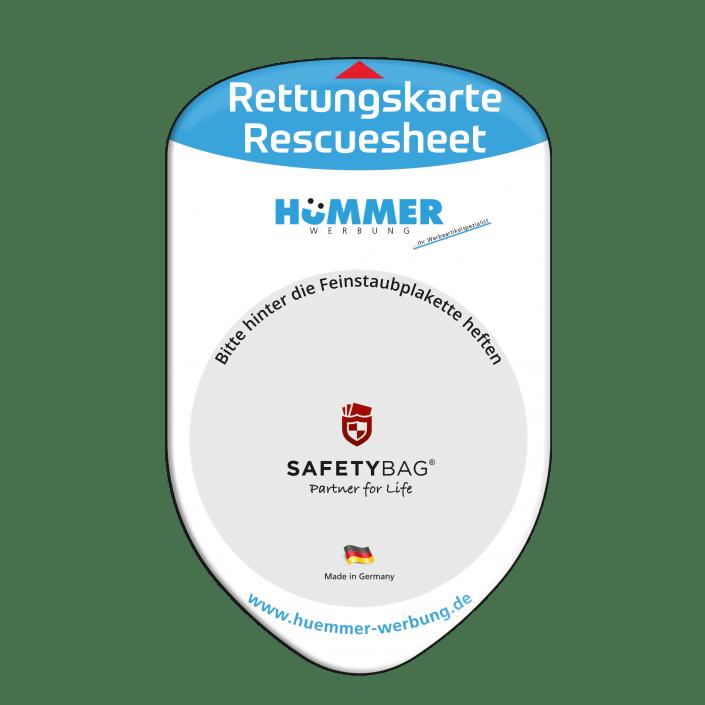 Werbung Referenzen Unternehmen HÜMMER-Werbung – SAFETYBAG® –Die Rettungskarten-Halterung Hülle Tasche für jedes Auto –für Fuhrpark Mitarbeiter nachhaltiges Werbegeschenk Give-away