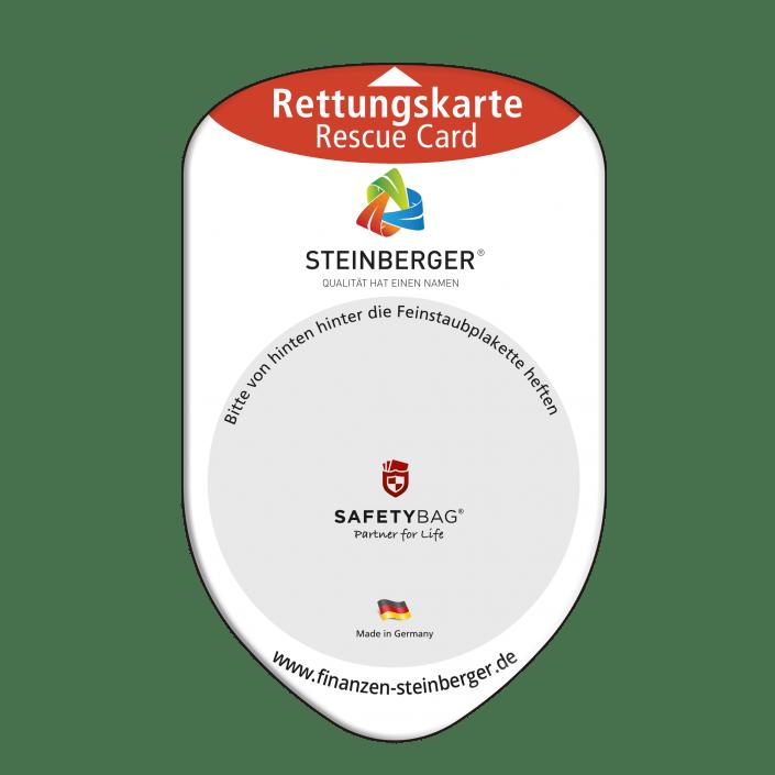 Werbung Referenzen Unternehmen STEINBERGER – SAFETYBAG® –Die Rettungskarten-Halterung Hülle Tasche für jedes Auto –für Fuhrpark Mitarbeiter nachhaltiges Werbegeschenk Give-away