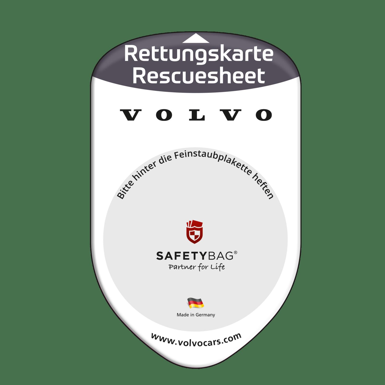 Werbung Referenzen VOLVO Automobil Hersteller – SAFETYBAG® –Die Rettungskarten-Halterung Hülle Tasche für jedes Auto – Autohäuser –für Fuhrpark Mitarbeiter nachhaltiges Werbegeschenk Give-away