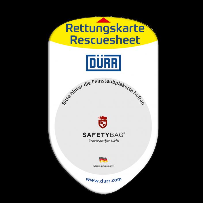 Werbung Referenzen DÜRR Konzern – SAFETYBAG® –Die Rettungskarten-Halterung Hülle Tasche für jedes Auto –für Fuhrpark Mitarbeiter nachhaltiges Werbegeschenk Give-away
