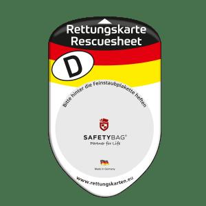 SAFETYBAG® –Die Rettungskarten-Halterung Hülle Tasche für jedes Auto – Shop Produkt Variante F Deutschland – Position Frontscheibe hinter der Feinstaubplakette