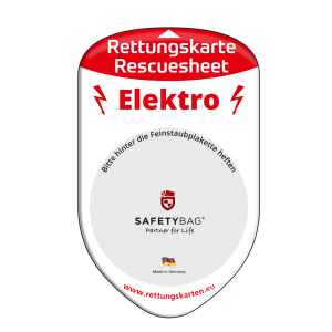 SAFETYBAG® –Die Rettungskarten-Halterung Hülle Tasche für jedes Auto – Shop Produkt Variante F Elektro für Elektro-Fahrzeuge – Position Frontscheibe hinter der Feinstaubplakette
