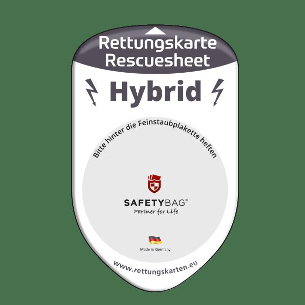 SAFETYBAG® –Die Rettungskarten-Halterung Hülle Tasche für jedes Auto – Shop Produkt Variante F Hybrid für Hybrid-Fahrzeuge –Position Frontscheibe hinter der Feinstaubplakette