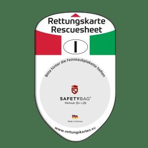 SAFETYBAG® –Die Rettungskarten-Halterung Hülle Tasche für jedes Auto – Shop Produkt Variante F Italien –Position Frontscheibe hinter der Feinstaubplakette
