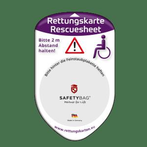SAFETYBAG® –Die Rettungskarten-Halterung Hülle Tasche für jedes Auto – Shop Produkt Variante F Rollstuhlfahrer –Position Frontscheibe hinter der Feinstaubplakette