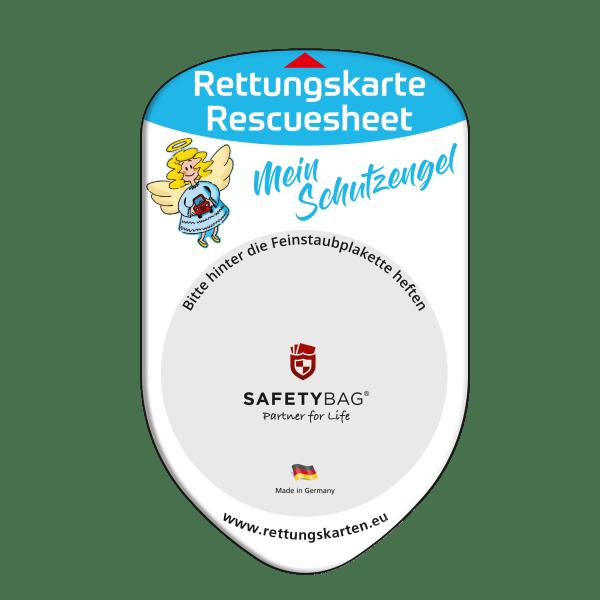 SAFETYBAG® –Die Rettungskarten-Halterung Hülle Tasche für jedes Auto – Shop Produkt Variante F Schutzengel –Position Frontscheibe hinter der Feinstaubplakette
