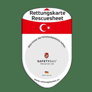 SAFETYBAG® –Die Rettungskarten-Halterung Hülle Tasche für jedes Auto – Shop Produkt Variante F Türkei –Position Frontscheibe hinter der Feinstaubplakette