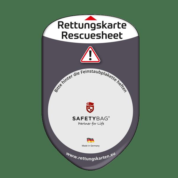 SAFETYBAG® –Die Rettungskarten-Halterung Hülle Tasche für jedes Auto – Shop Produkt Variante F Standard-schwarz –Position Frontscheibe hinter der Feinstaubplakette