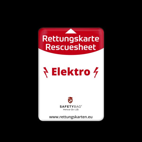 SAFETYBAG® –Die Rettungskarten-Halterung Hülle Tasche für jedes Auto – Shop Produkt Variante S Elektro für Elektro-Fahrzeuge –Position an der Seitenscheibe oder Frontscheibe