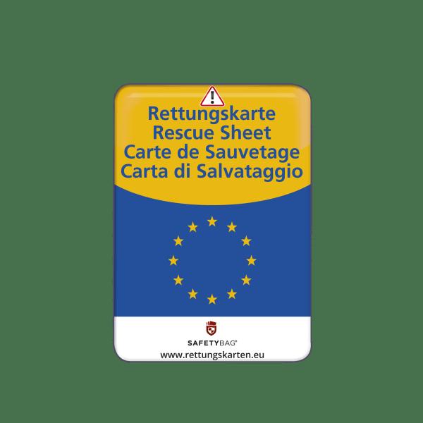 SAFETYBAG® –Die Rettungskarten-Halterung Hülle Tasche für jedes Auto – Shop Produkt Variante S Europa –für ganz Europa –Position an der Seitenscheibe oder Frontscheibe