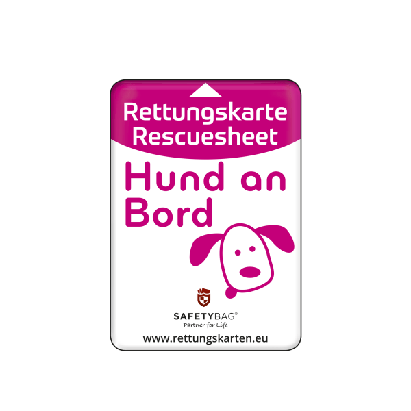SAFETYBAG® –Die Rettungskarten-Halterung Hülle Tasche für jedes Auto – Shop Produkt Variante S Hund an Bord –Position an der Seitenscheibe oder Frontscheibe