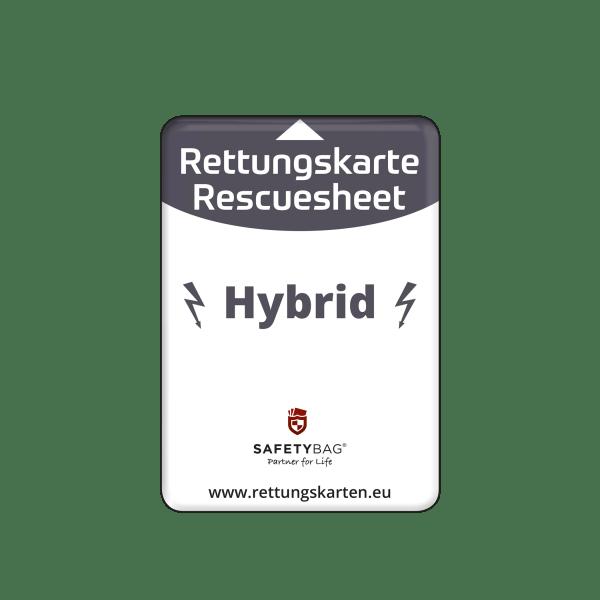 SAFETYBAG® –Die Rettungskarten-Halterung Hülle Tasche für jedes Auto – Shop Produkt Variante S Seitenscheibe Hybrid für Hybrid-Fahrzeuge –Position an der Seitenscheibe oder Frontscheibe