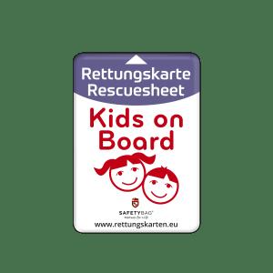 SAFETYBAG® –Die Rettungskarten-Halterung Hülle Tasche für jedes Auto – Shop Produkt Variante S Seitenscheibe Kinds-on-board –Position an der Seitenscheibe oder Frontscheibe