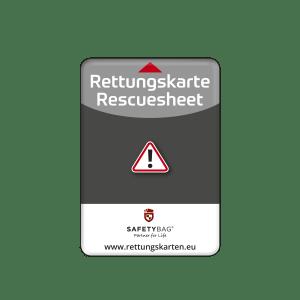 SAFETYBAG® –Die Rettungskarten-Halterung Hülle Tasche für jedes Auto – Shop Produkt Variante S Seitenscheibe Standard-schwarz –Position an der Seitenscheibe oder Frontscheibe