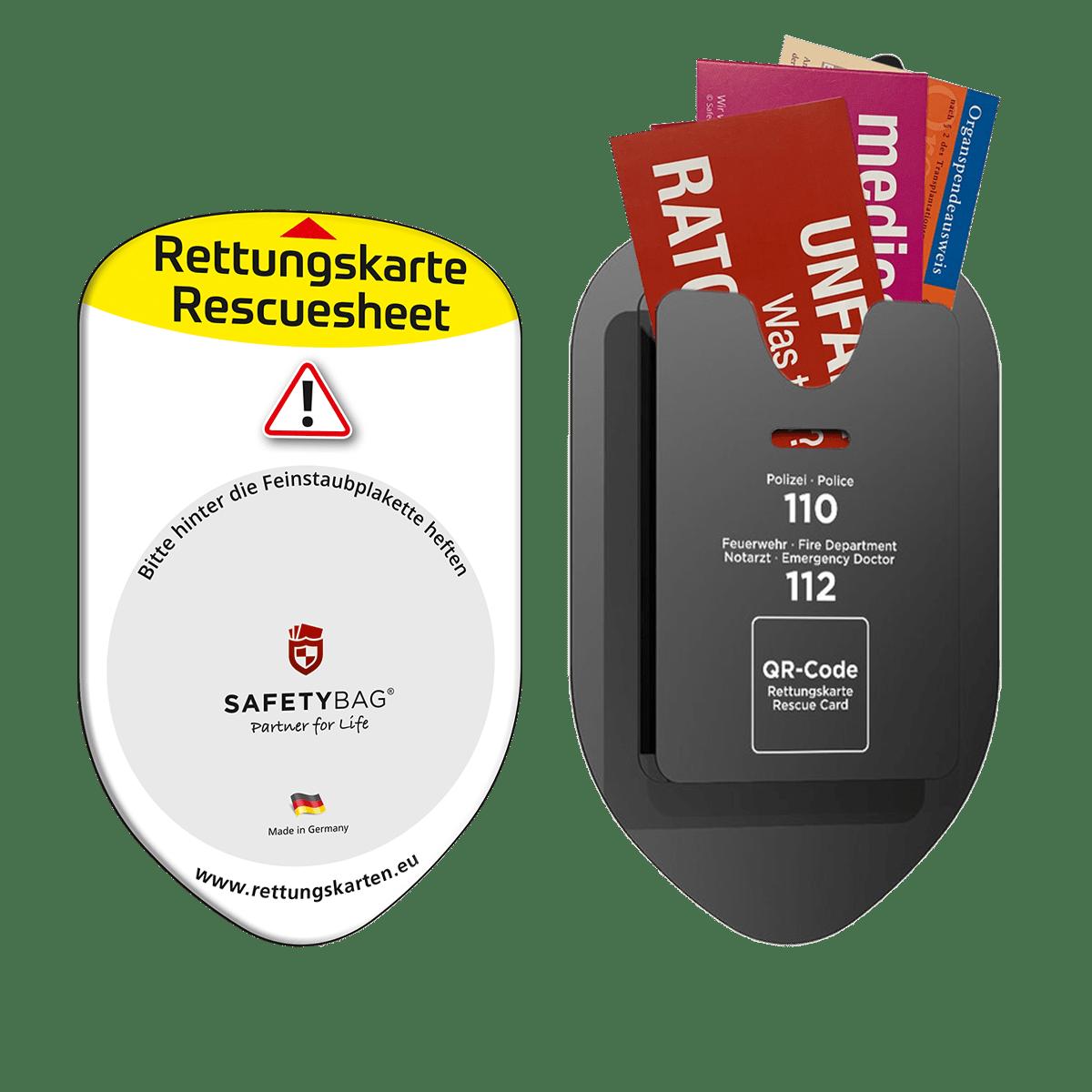 Rettungskarten Halterung Rettungsdatenblatt – Download – Vorder- und Rückseite – Unfallratgeber Medicard Organspendeausweis –Safetybag