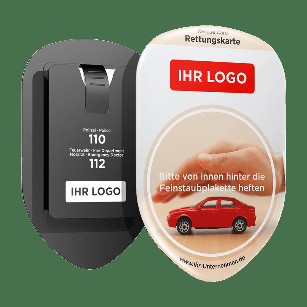 EigenesLogo Werbung – Rettungskarten Halterung Rettungsdatenblatt –Safetybag –Download - Vorderseite und Rückseite – für Fuhrpark Mitarbeiter nachhaltiges Werbegeschenk Give-away
