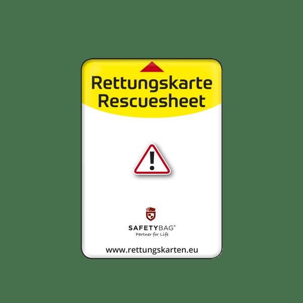 Rettungskartenhalterung - Rettungskartenhülle - Rettungskartentasche - Rettungskarten Halterung Hülle Tasche - Rettungsdatenblatt Halterung Hülle Tasche - Rettungskarten Halterung - Rettungsdatenblatt Download - Safetybag S Front Standard weiß
